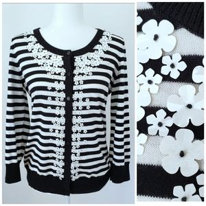 Talbots Black & White Flower Sequin Cardigan SZ S